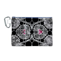 Bling Black Grey  Canvas Cosmetic Bag (Medium)