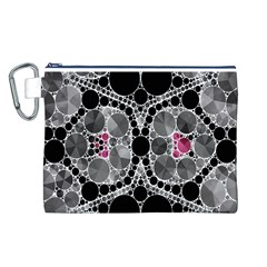 Bling Black Grey  Canvas Cosmetic Bag (Large)