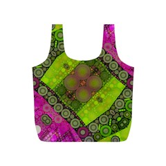 Florescent Pink Green  Reusable Bag (S)