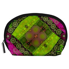 Florescent Pink Green  Accessory Pouch (large)