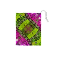 Florescent Pink Green  Drawstring Pouch (Small)