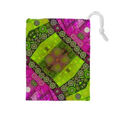 Florescent Pink Green  Drawstring Pouch (Large)