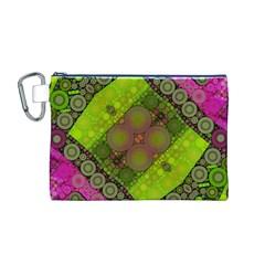 Florescent Pink Green  Canvas Cosmetic Bag (Medium)