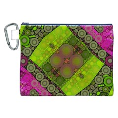Florescent Pink Green  Canvas Cosmetic Bag (XXL)