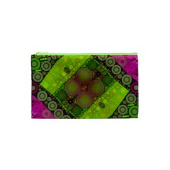 Florescent Pink Green  Cosmetic Bag (xs)