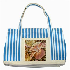 Fantasy Colors Hibiscus Flower Digital Photography Blue Striped Tote Bag