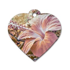 Fantasy Colors Hibiscus Flower Digital Photography Dog Tag Heart (Two Sided)