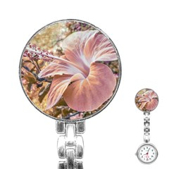 Fantasy Colors Hibiscus Flower Digital Photography Stainless Steel Nurses Watch