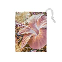 Fantasy Colors Hibiscus Flower Digital Photography Drawstring Pouch (medium)
