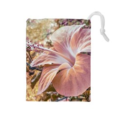 Fantasy Colors Hibiscus Flower Digital Photography Drawstring Pouch (Large)