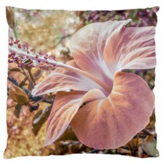 Fantasy Colors Hibiscus Flower Digital Photography Large Flano Cushion Case (One Side)