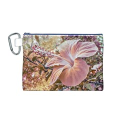 Fantasy Colors Hibiscus Flower Digital Photography Canvas Cosmetic Bag (Medium)