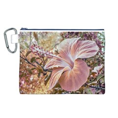 Fantasy Colors Hibiscus Flower Digital Photography Canvas Cosmetic Bag (Large)