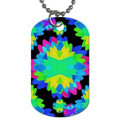 Multicolored Floral Print Geometric Modern Pattern Dog Tag (one Sided)