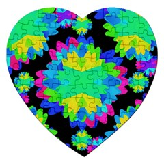 Multicolored Floral Print Geometric Modern Pattern Jigsaw Puzzle (Heart)