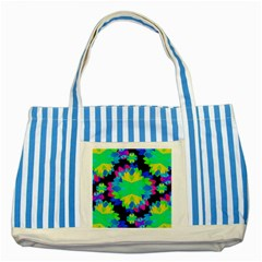 Multicolored Floral Print Geometric Modern Pattern Blue Striped Tote Bag