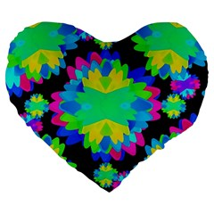 Multicolored Floral Print Geometric Modern Pattern 19  Premium Heart Shape Cushion