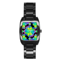 Multicolored Floral Print Geometric Modern Pattern Stainless Steel Barrel Watch