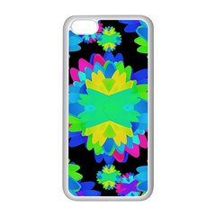 Multicolored Floral Print Geometric Modern Pattern Apple iPhone 5C Seamless Case (White)