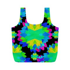 Multicolored Floral Print Geometric Modern Pattern Reusable Bag (M)