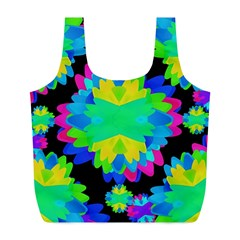 Multicolored Floral Print Geometric Modern Pattern Reusable Bag (L)