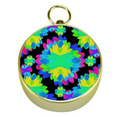 Multicolored Floral Print Geometric Modern Pattern Gold Compass