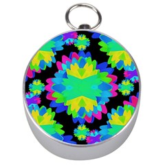 Multicolored Floral Print Geometric Modern Pattern Silver Compass