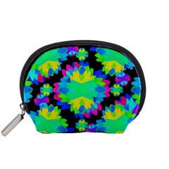 Multicolored Floral Print Geometric Modern Pattern Accessory Pouch (small)