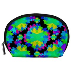 Multicolored Floral Print Geometric Modern Pattern Accessory Pouch (Large)