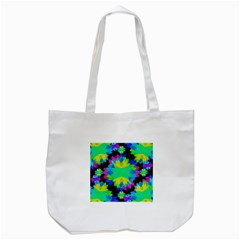 Multicolored Floral Print Geometric Modern Pattern Tote Bag (White)