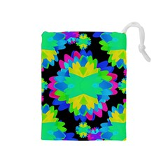 Multicolored Floral Print Geometric Modern Pattern Drawstring Pouch (Medium)