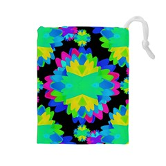 Multicolored Floral Print Geometric Modern Pattern Drawstring Pouch (Large)