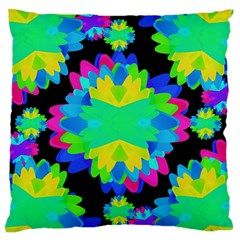 Multicolored Floral Print Geometric Modern Pattern Large Flano Cushion Case (Two Sides)