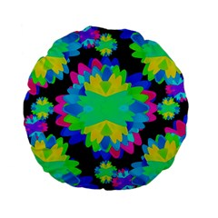 Multicolored Floral Print Geometric Modern Pattern 15  Premium Flano Round Cushion