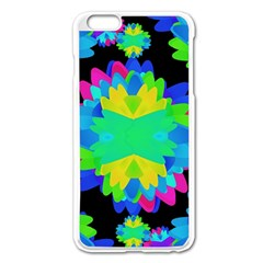 Multicolored Floral Print Geometric Modern Pattern Apple iPhone 6 Plus Enamel White Case