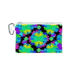 Multicolored Floral Print Geometric Modern Pattern Canvas Cosmetic Bag (Small)