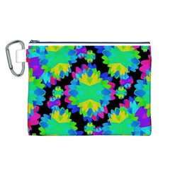 Multicolored Floral Print Geometric Modern Pattern Canvas Cosmetic Bag (Large)