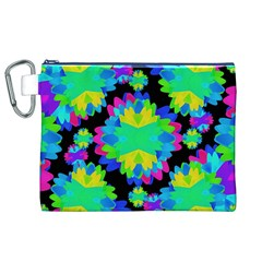 Multicolored Floral Print Geometric Modern Pattern Canvas Cosmetic Bag (XL)
