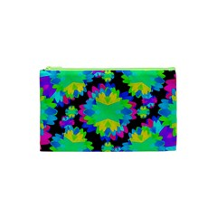 Multicolored Floral Print Geometric Modern Pattern Cosmetic Bag (XS)