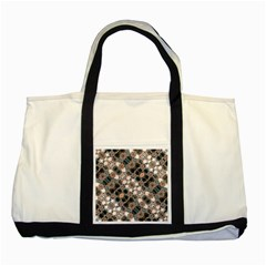 Modern Arabesque Pattern Print Two Toned Tote Bag