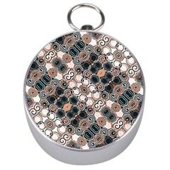 Modern Arabesque Pattern Print Silver Compass