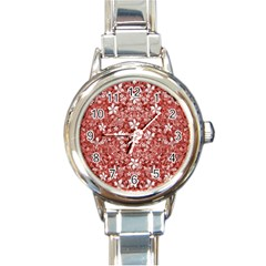 Flowers Pattern Collage In Coral An White Colors Round Italian Charm Watch
