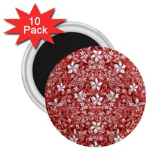 Flowers Pattern Collage In Coral An White Colors 2 25  Button Magnet (10 Pack)