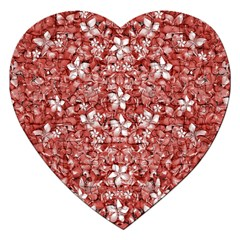 Flowers Pattern Collage In Coral An White Colors Jigsaw Puzzle (heart)