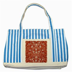 Flowers Pattern Collage In Coral An White Colors Blue Striped Tote Bag