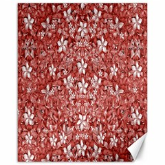 Flowers Pattern Collage in Coral an White Colors Canvas 16  x 20  (Unframed)