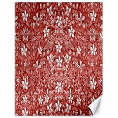 Flowers Pattern Collage in Coral an White Colors Canvas 18  x 24  (Unframed)