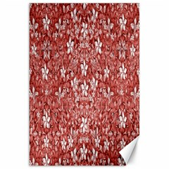 Flowers Pattern Collage in Coral an White Colors Canvas 20  x 30  (Unframed)