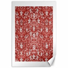 Flowers Pattern Collage in Coral an White Colors Canvas 24  x 36  (Unframed)