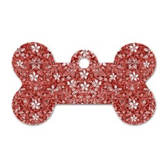 Flowers Pattern Collage in Coral an White Colors Dog Tag Bone (One Sided)